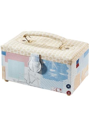 locker Nähkästchen, rechteckig, Textil mit Knopfmuster und Griff aus Stoff kaufen