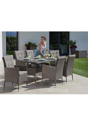 KONIFERA Gartenmöbelset »Mailand«, 19 - tlg., 6 Sessel, Tisch 150x80 cm, Polyrattan kaufen