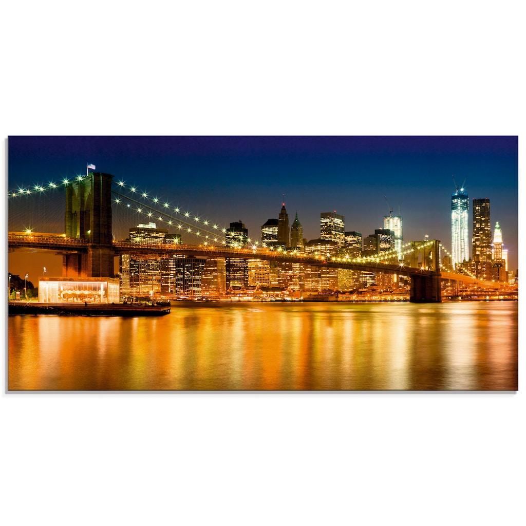 Artland Glasbild »Nächtliche Skyline Manhattan«, Amerika, (1 St.)