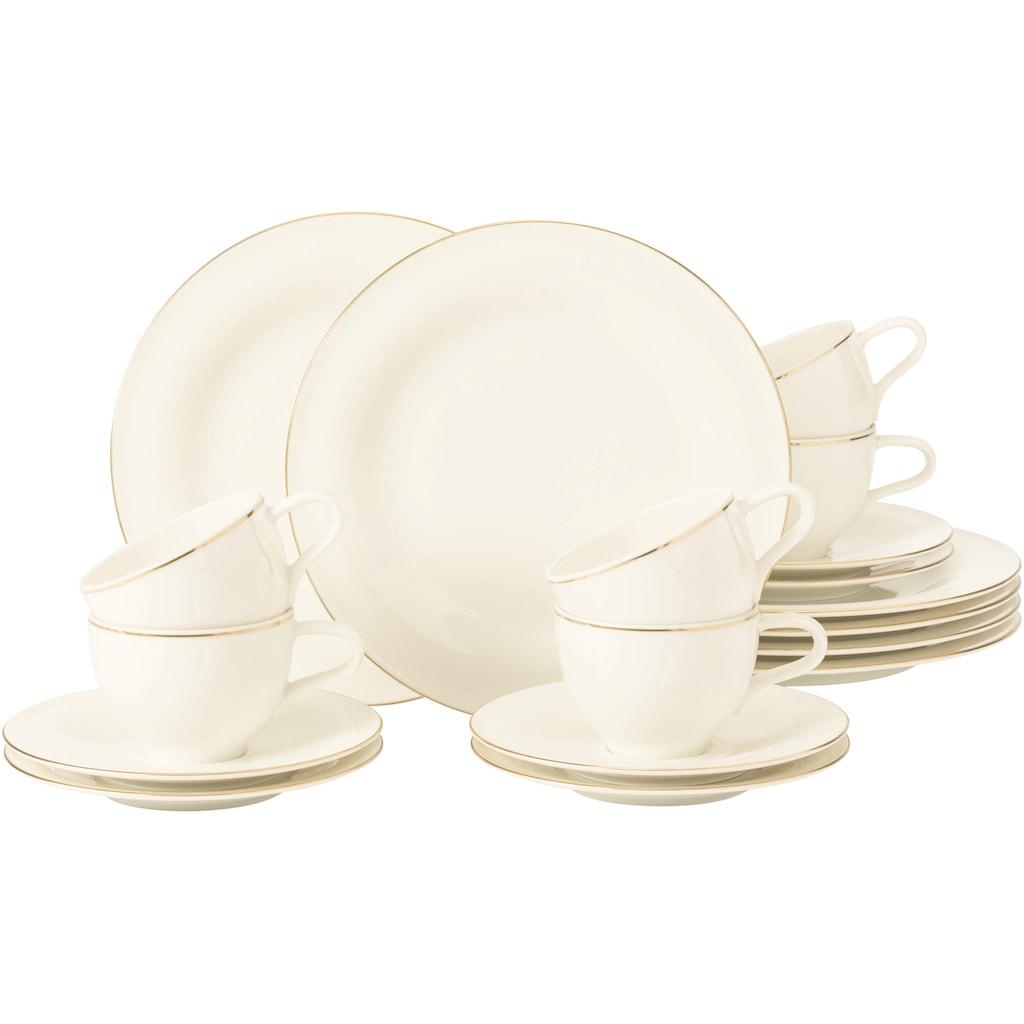 Seltmann Weiden Kaffeeservice »Medina Goldlinie«, (Set, 18 tlg., 6 x Kaffeeobertasse 0,26 l 6 x Kombi-Untertasse groß 16,5 cm 6 x Frühstücksteller rund 23 cm), mit feiner Goldlinie