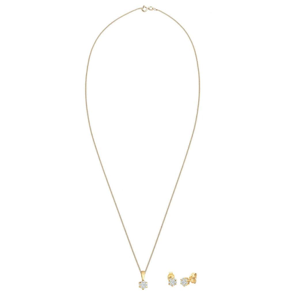 Elli DIAMONDS Ohrring und Ketten Set »Solitär, 0907820815«, mit Diamanten