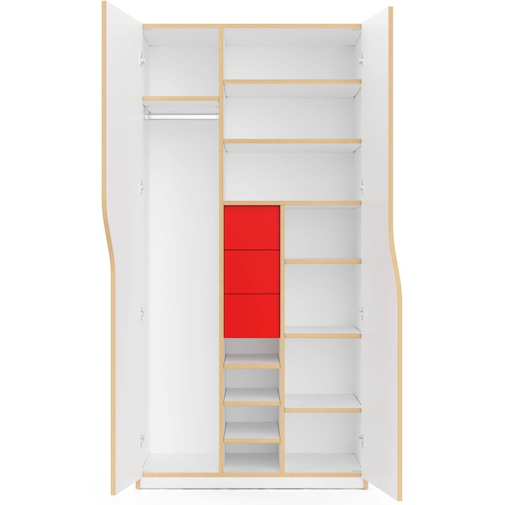 Müller SMALL LIVING Kleiderschrank »PLANE Ausstattung Nr. 4«, inklusive 3 innenliegenden Schubladen, einer Kleiderstange und 12 Fächern