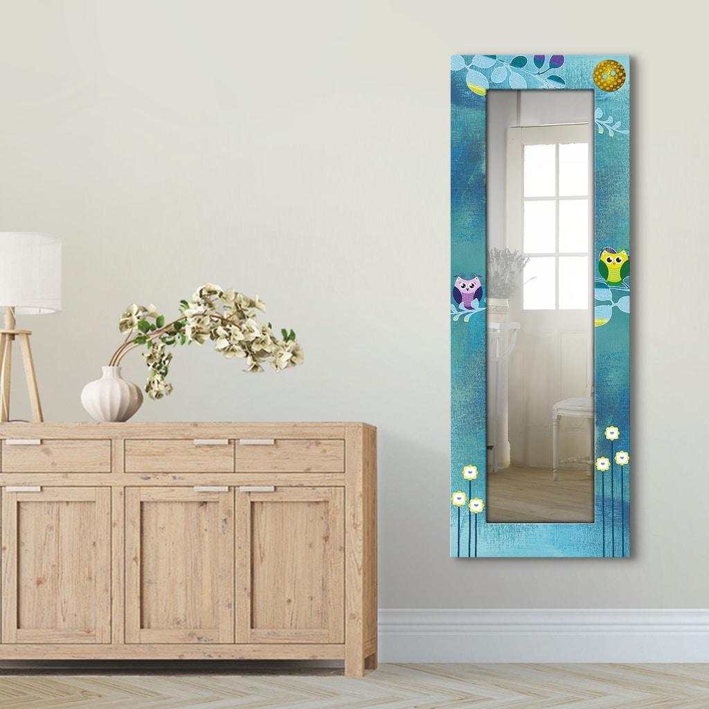 Artland Wandspiegel »Nachteule im Mondschein«, gerahmter Ganzkörperspiegel mit Motivrahmen, geeignet für kleinen, schmalen Flur, Flurspiegel, Mirror Spiegel gerahmt zum Aufhängen