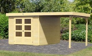 karibu set gartenhaus arnis bxt 486x262 cm inkl anbaudach auf raten kaufen. Black Bedroom Furniture Sets. Home Design Ideas