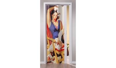 Kunststoff - Falttür »St. Tropez«, BxH: 88,5x202 cm, Weiß mit Motivdruck kaufen