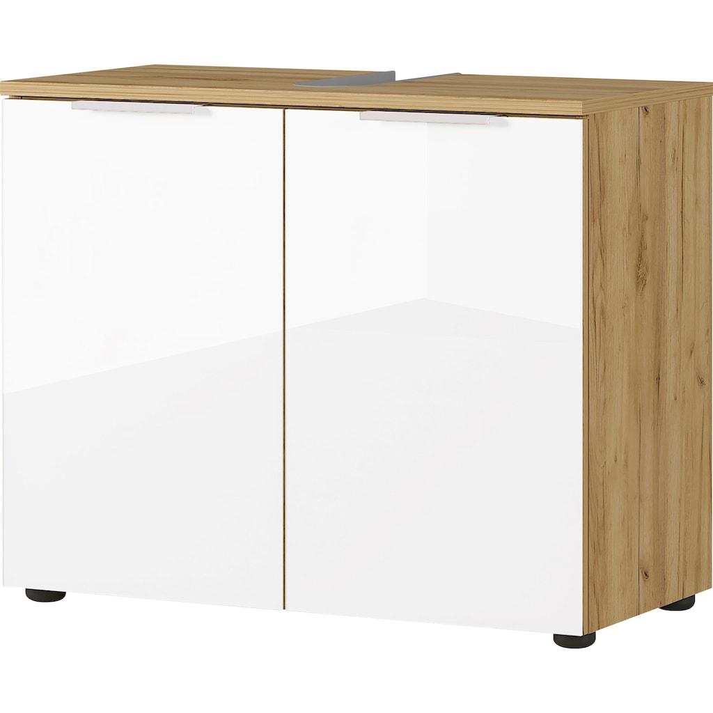 GERMANIA Badmöbel-Set »Avino«, (5 St.), Spiegelschrank inkl. LED-Beleuchtung, Glasfronten, Soft-Close-Funktion