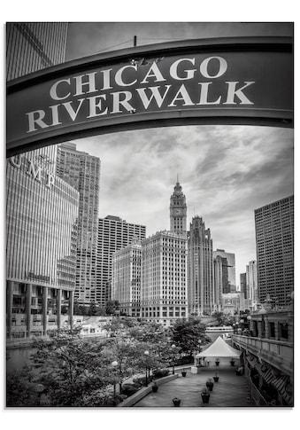 Artland Glasbild »Chicago Riverwalk schwarz/weiß«, Amerika, (1 St.) kaufen