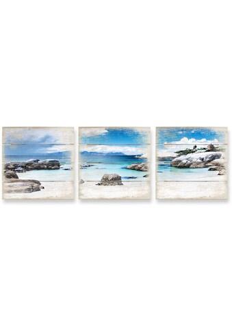 Wall-Art Mehrteilige Bilder »Holzbild Set Western Cape«, (Set, 3 St.) kaufen