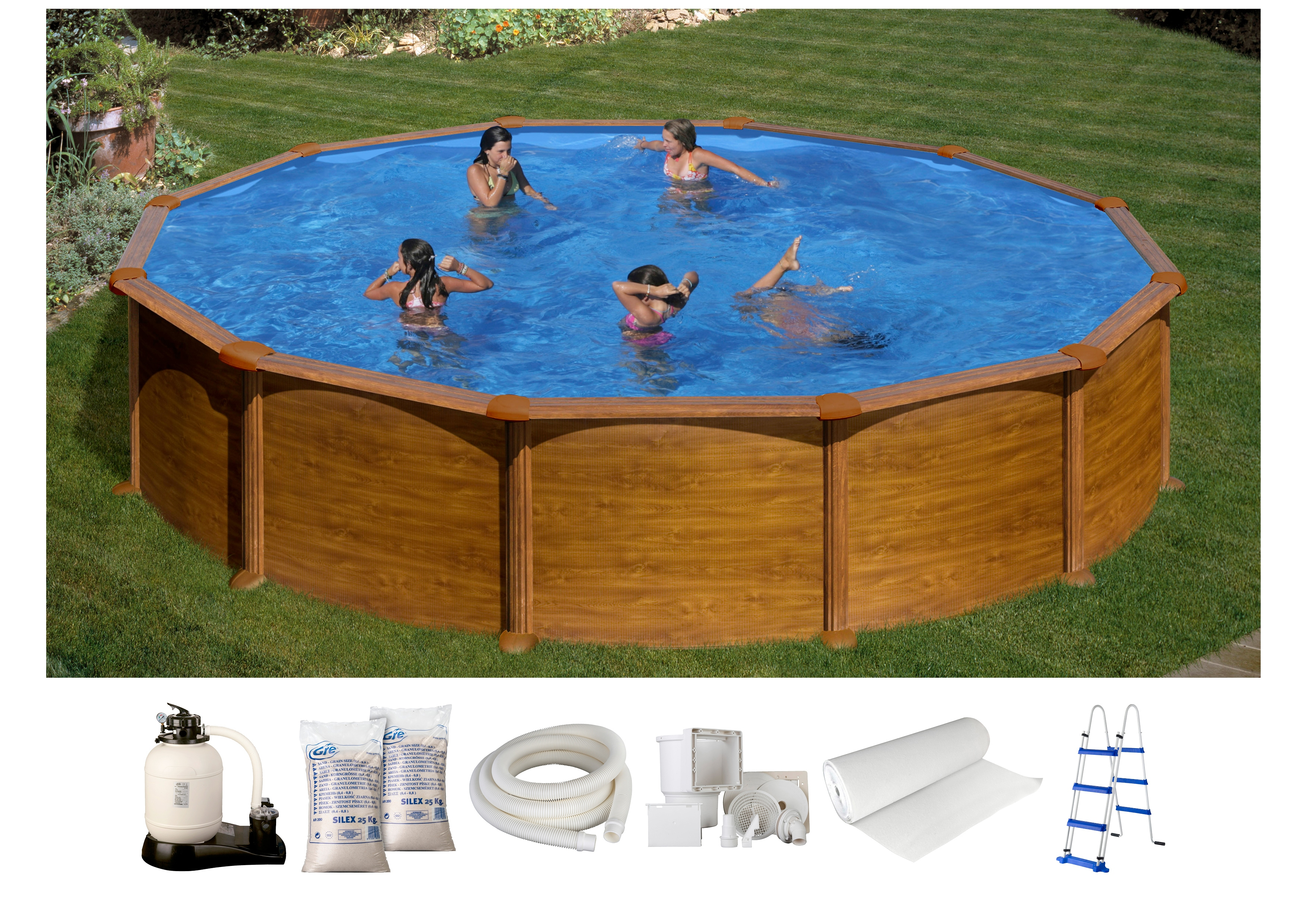 GRE Set: Rundpool »Mauritius«, 7-tlg., ØxH: 550x132 cm, Holzoptik   Garten > Swimmingpools   GRE