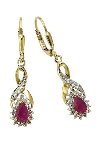 Firetti Paar Ohrhänger »Tropfen/Unendlicheitsschleife/Infinity«, mit Rubinen und Weißtopasen kaufen