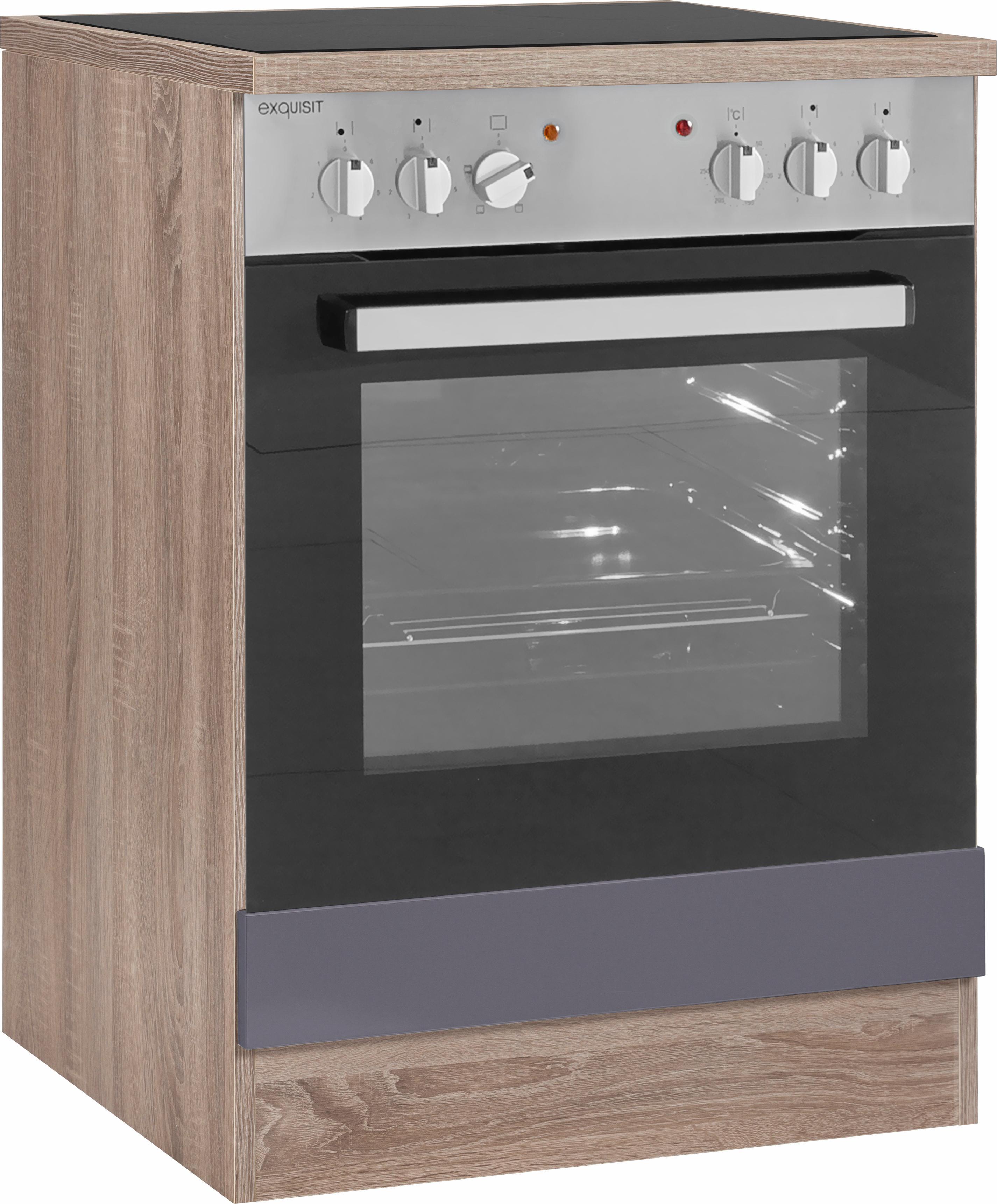 OPTIFIT Herdumbauschrank »Korfu« | Küche und Esszimmer | Grau | Edelstahl - Eiche - Melamin | OPTIFIT