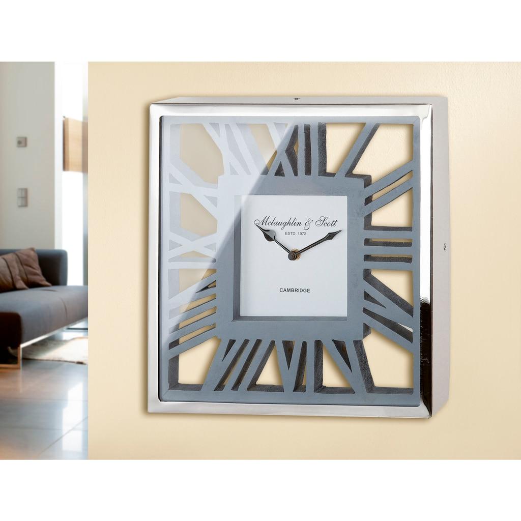 GILDE Wanduhr »Uhr Gris«, eckig, aus Holz und Metall, römische Ziffern, Wohnzimmer