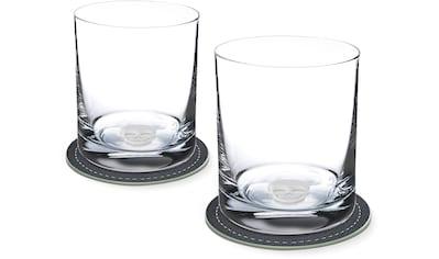 Contento Whiskyglas, (Set, 4 tlg., 2 Whiskygläser und 2 Untersetzer), Totenkopf, 400... kaufen