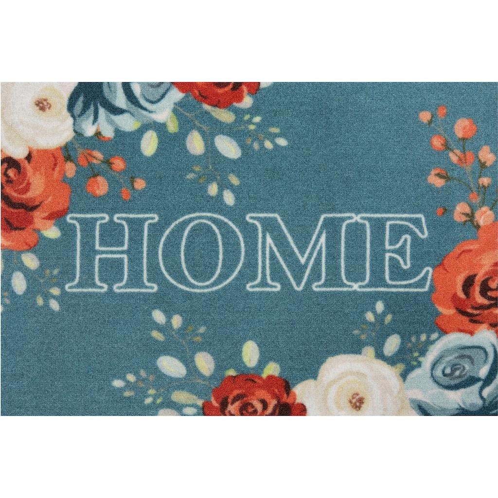 HANSE Home Fußmatte »Flower Home«, rechteckig, 7 mm Höhe, Schmutzfangmatte, mit Spruch