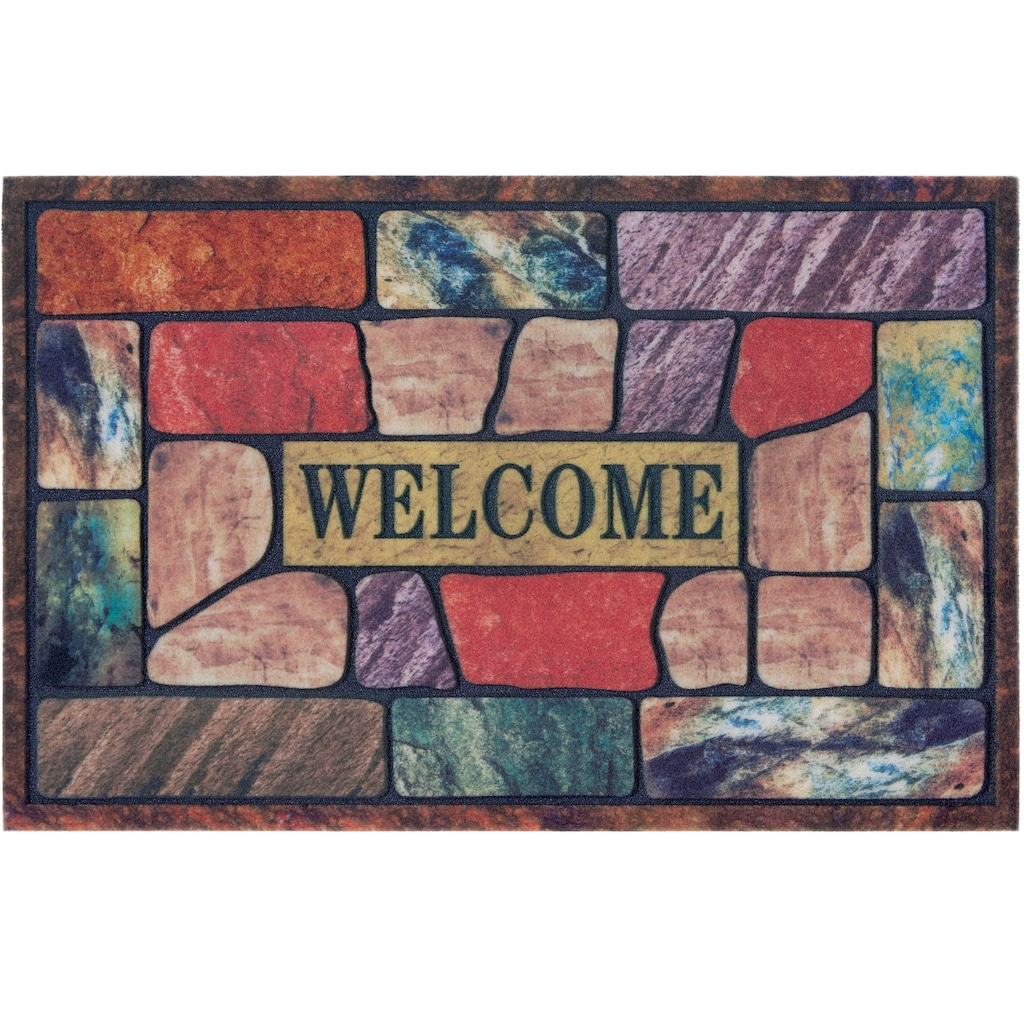 DELAVITA Fußmatte »Welcome bunt«, rechteckig, 6 mm Höhe, Schmutzmatte, mit Spruch, In- und Outdoor geeignet