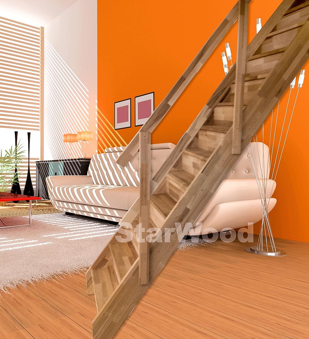 STARWOOD Raumspartreppe »Rhodos«, geschl. Stufen, gerade, Holzgeländer rechts | Baumarkt > Leitern und Treppen > Treppen | Natur | Buchenholz | STARWOOD