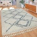 Paco Home Hochflor-Teppich »Nador 751«, rechteckig, 55 mm Höhe, Rauten-Muster, mit Fransen