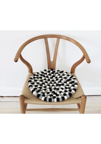 Wooldot Sitzkissen »Mixed Color«, rund, Filzkugel-Teppich, reine Wolle, auch als Set bestellbar kaufen
