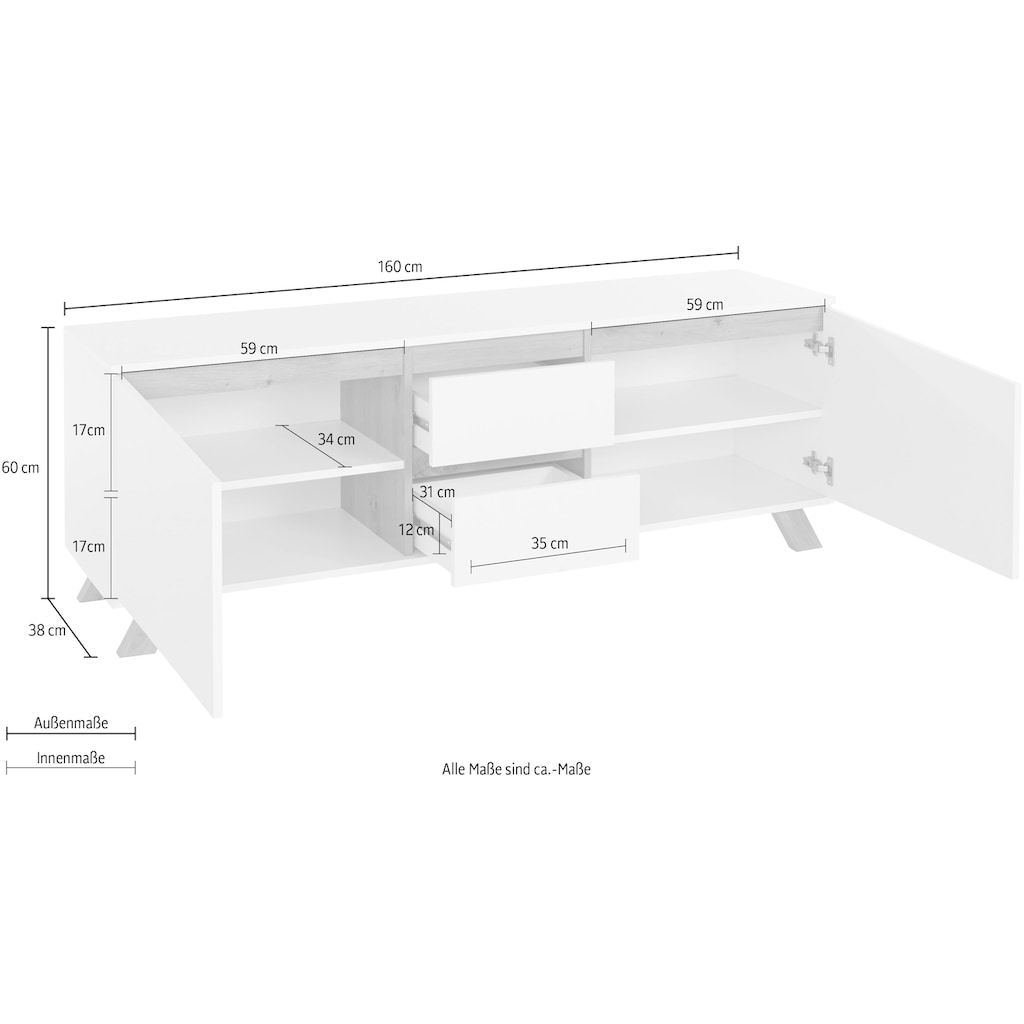 Homexperts TV-Board »Vicky«, Breite 160 cm, in matt weiß