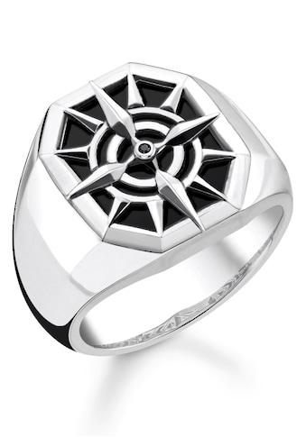 THOMAS SABO Silberring »Kompass, TR2274-641-11-52, 54, 56, 58, 60, 62, 64, 66, 68«, mit Onyx und Zirkonia kaufen