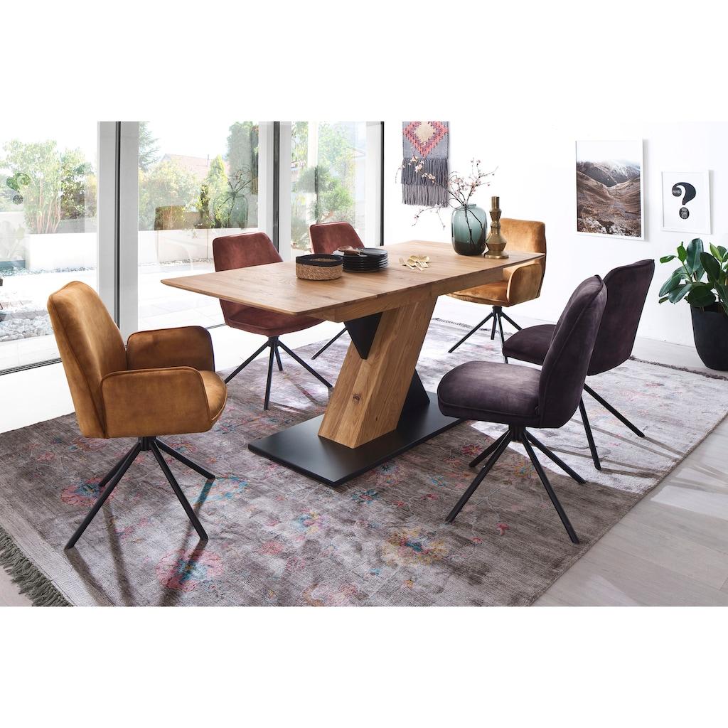 MCA furniture Esstisch »Cuba«, Esstisch Massivholz ausziehbar, Tischplatte mit Synchronauszug vormontiert