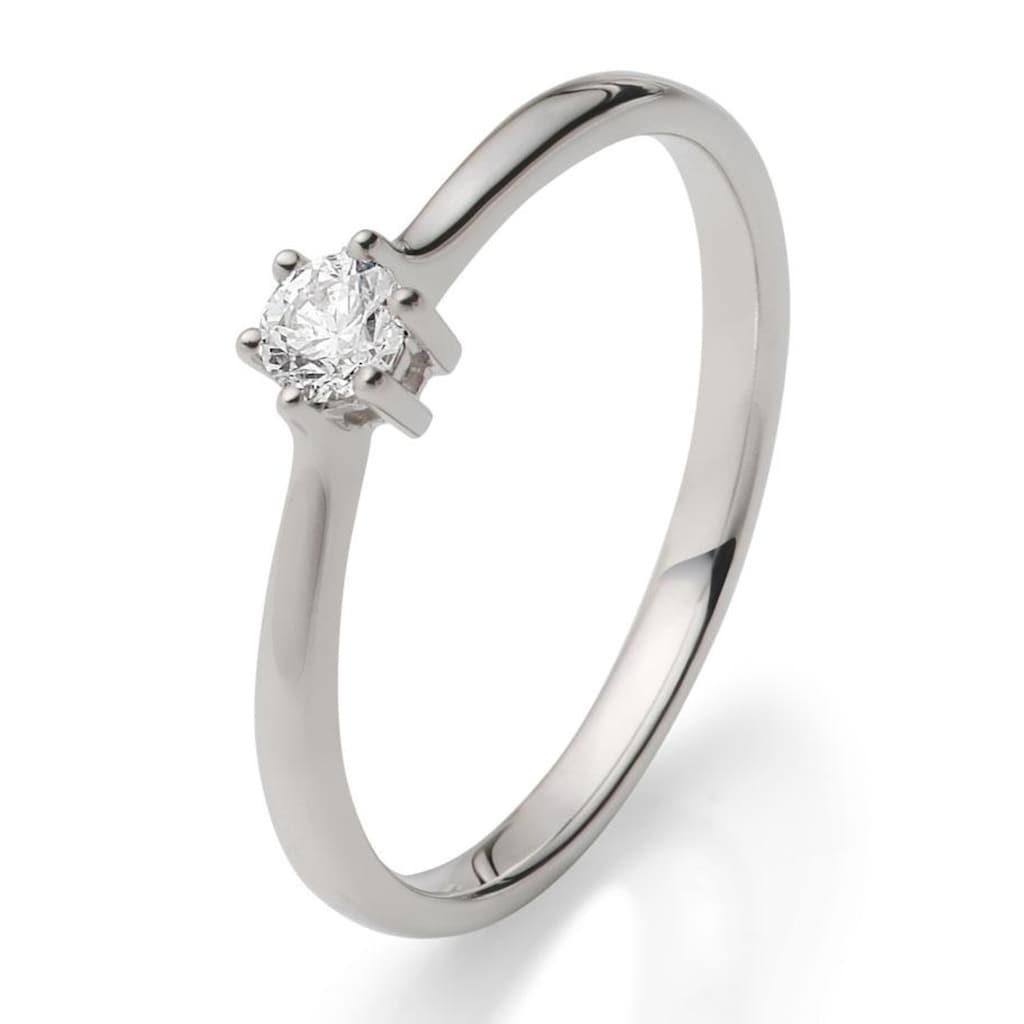 Firetti Solitärring »Diamantring, Verlobungsring«, mit Brillant in klassischer Krappenfassung