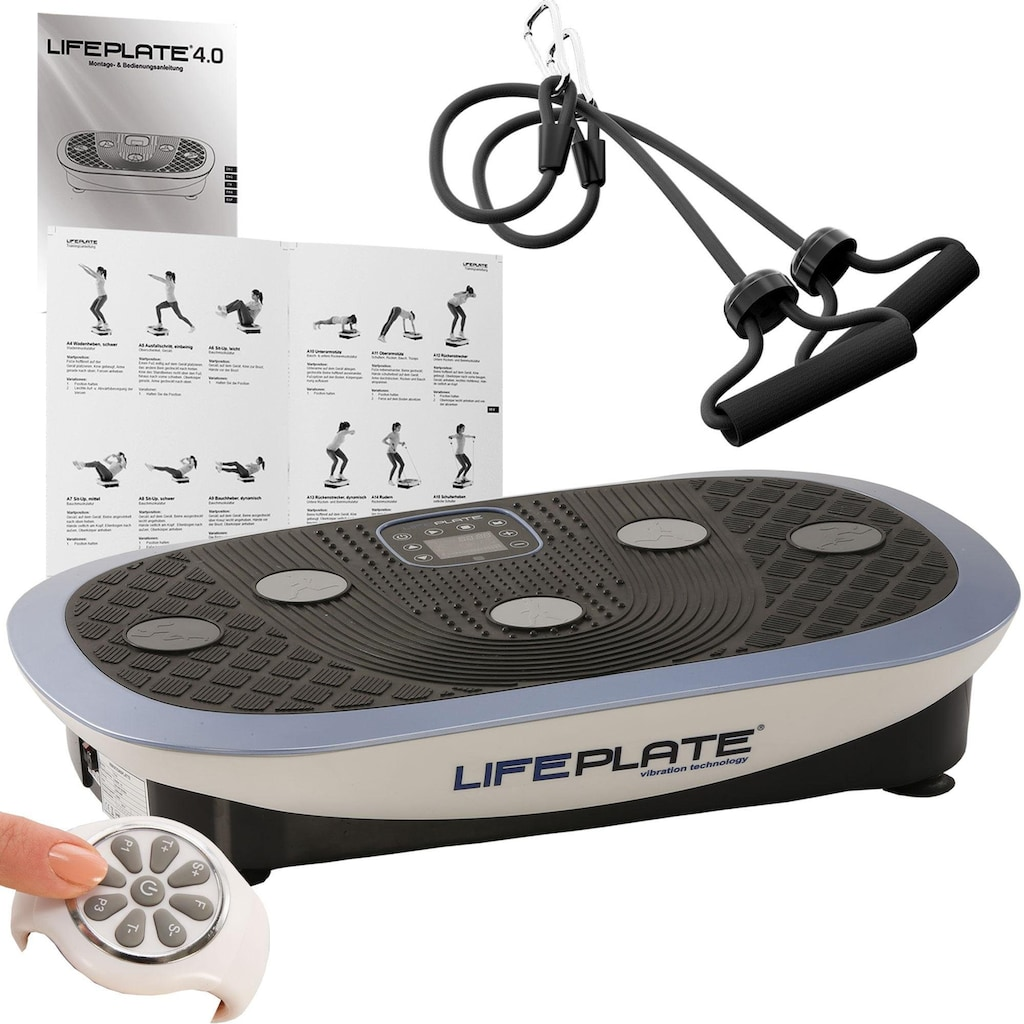 MAXXUS Vibrationsplatte »Lifeplate 4.0«, (Set, 3 tlg., mit Trainingsbändern-mit Trainingsplan-mit Unterlegmatte)