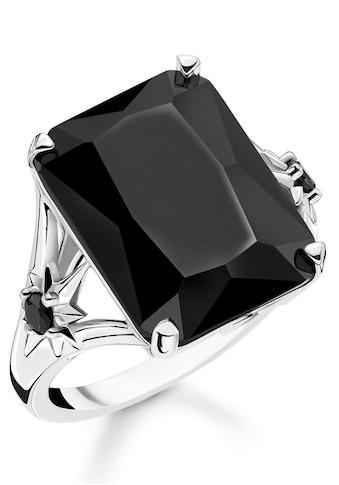 THOMAS SABO Silberring »Stein schwarz groß mit Stern, TR2261-641-11-52, 54, 56, 58, 60«, mit Onyx und Zirkonia kaufen