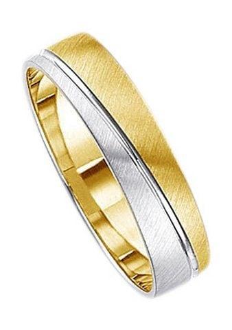 Firetti Trauring mit Gravur »5,0 mm, quer gebürstet, Diamantschnitt, bicolor« | Schmuck > Ringe > Ringe mit Gravur | Firetti