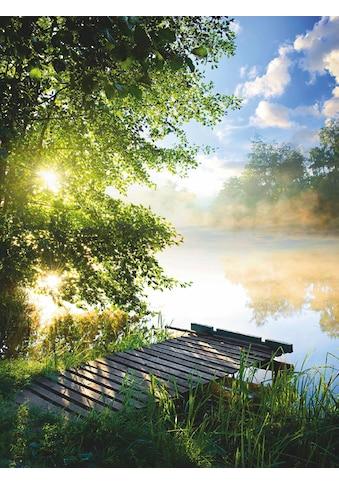 Home affaire Glasbild »Angelsteg am Fluss am Morgen« kaufen