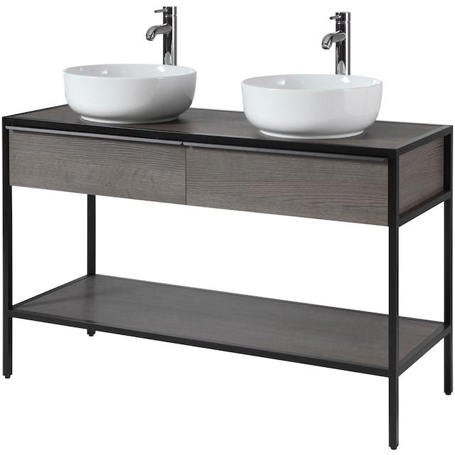 CYGNUS BATH Waschtisch »Brooklyn«, Doppelwaschtisch, Breite 120 cm, Metallgestell
