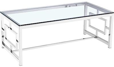 Leonique Beistelltisch »Robin«, mit edlem Chromgestell und rechteckiger Glasplatte kaufen
