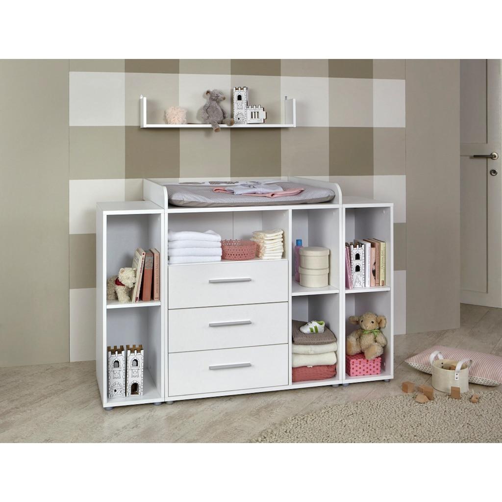 BMG Babyzimmer-Komplettset »Luis«, (Set, 6 tlg.), Bett + Wickelkommode + 2-trg. Schrank + Unterstellregal (Set 2-tlg.) + Wandboard