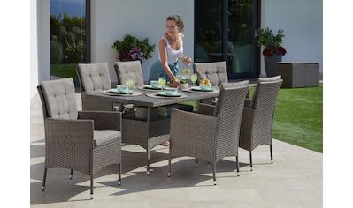 KONIFERA Gartenmöbelset »Mailand«, (19 tlg.), 6 Sessel, Tisch 150x80 cm, Polyrattan kaufen
