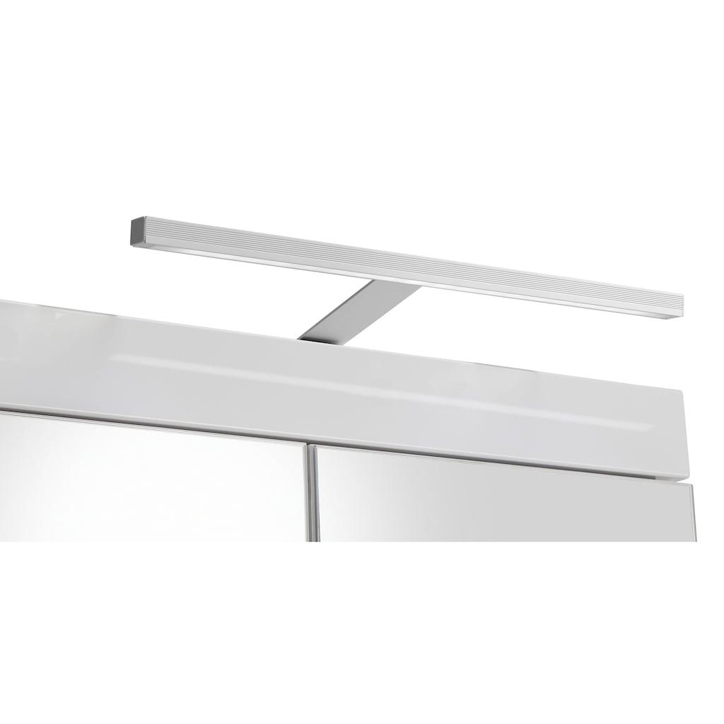 trendteam Badmöbel-Set »Amanda«, (Set, 5 St.), mit Spiegelschrank inkl. LED-Beleuchtung, Hoch-, Waschbeckenunter-, Hänge- und Unterschrank, wechselbare Türanschläge, MDF-Fronten in Hochglanz- oder Holzoptik