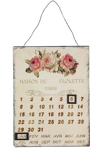 Ambiente Haus Metallschild »Metallbild Kalender - Rosen 25x33cm«, (1 St.) kaufen