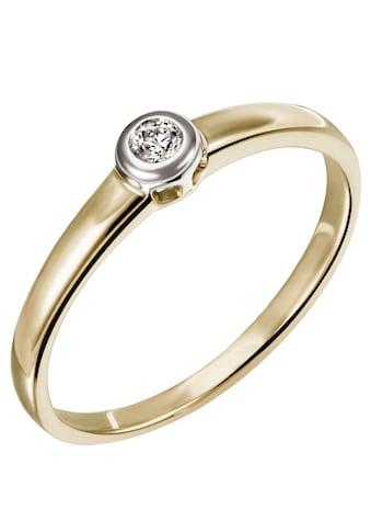 Firetti Diamantring »Solitär, bicolor, teilw. rhodiniert, Glanz, massiv«, mit Brillant kaufen