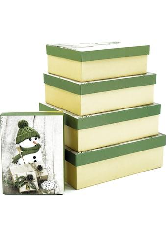 NOOR LIVING Aufbewahrungsbox »Schneemann mit grüner Wollmütze«, (Set, 5 St.),... kaufen