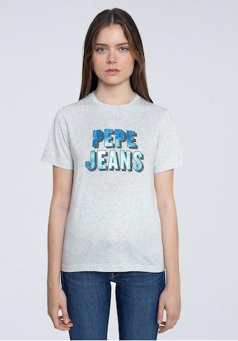 Pepe Jeans Kurzarmshirt »CALI«, mit schimmerndem Frontprint mit Marken-Namen kaufen
