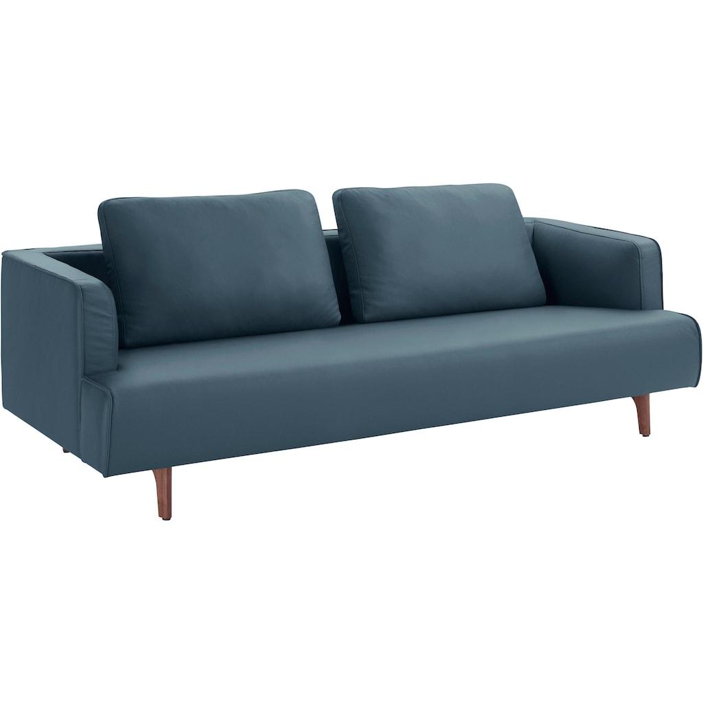 hülsta sofa 4-Sitzer »hs.440«, wahlweise in Stoff oder Leder, Fuß Nussbaum