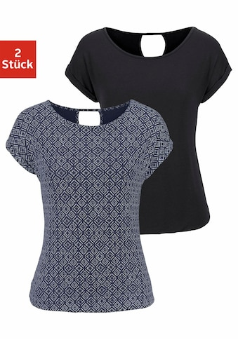 LASCANA T-Shirt, mit modischem Cut-out im Nacken kaufen