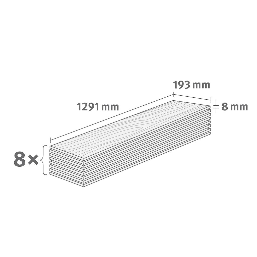 EGGER Laminat »HOME Aqua+ Creston Eiche weiß«, wasserbeständig, 1,994 m²/Pkt., Stärke: 8 mm