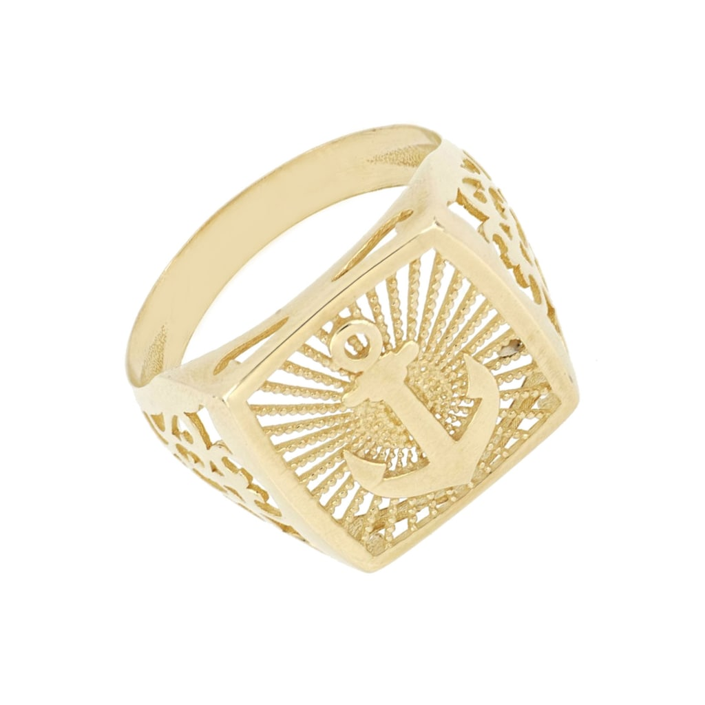 Firetti Goldring »Anker, seitliche Ornamente, glänzend, strukturiert«