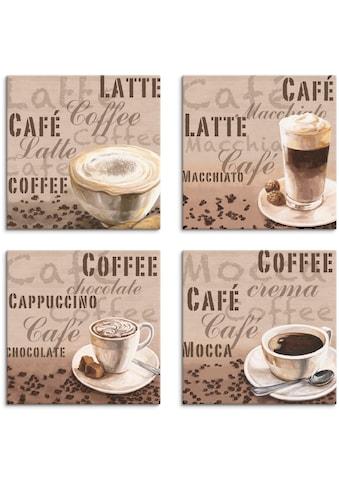 Artland Leinwandbild »Milchkaffee Latte MacchiatoChocolate«, Getränke, (4 St.) kaufen