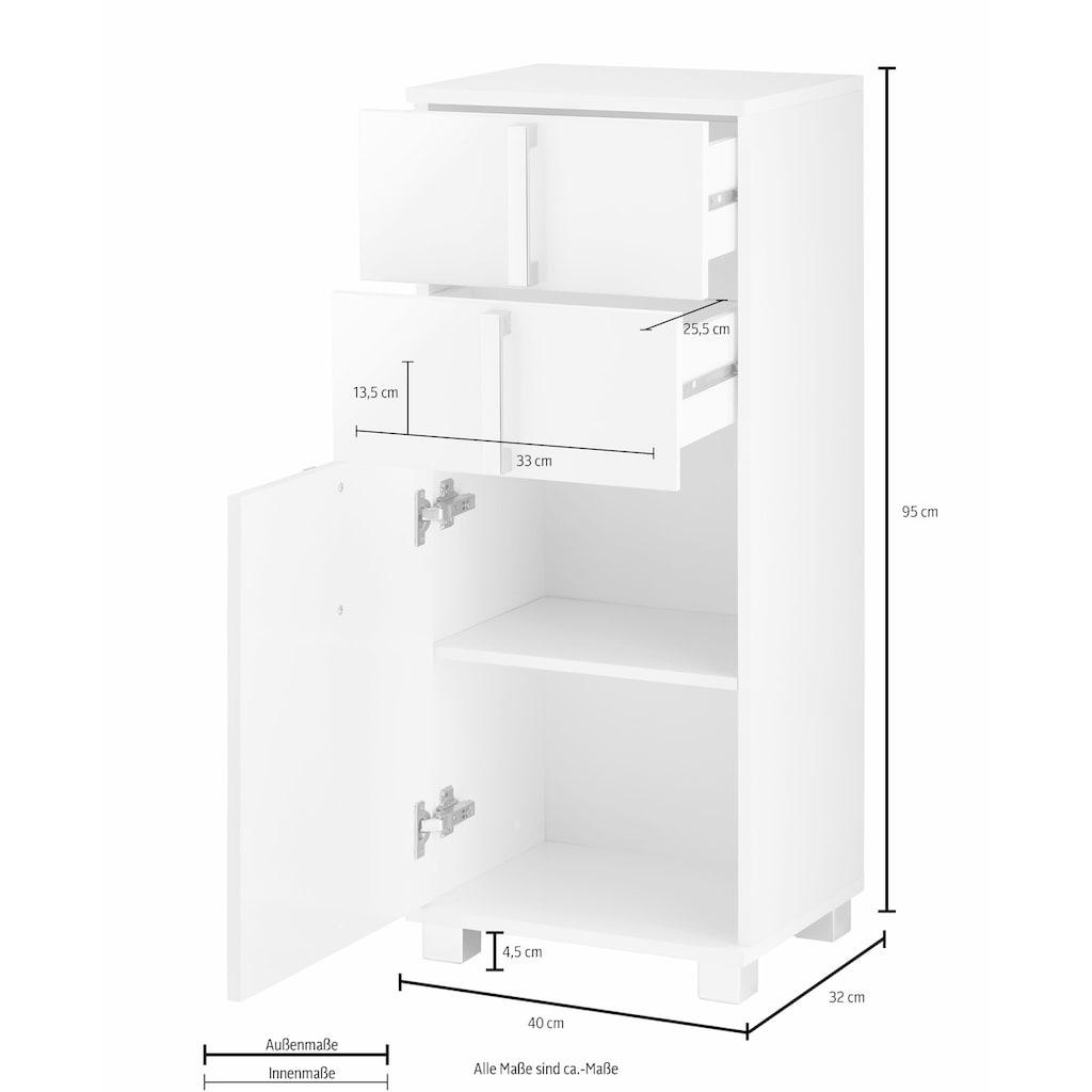 Schildmeyer Unterschrank »Kampen«, Breite 40 cm, Badezimmerschrank mit Metallgriffen, Tür mit Soft-Close-Funktion, wechselbarer Türanschlag und 2 praktische Schubladen
