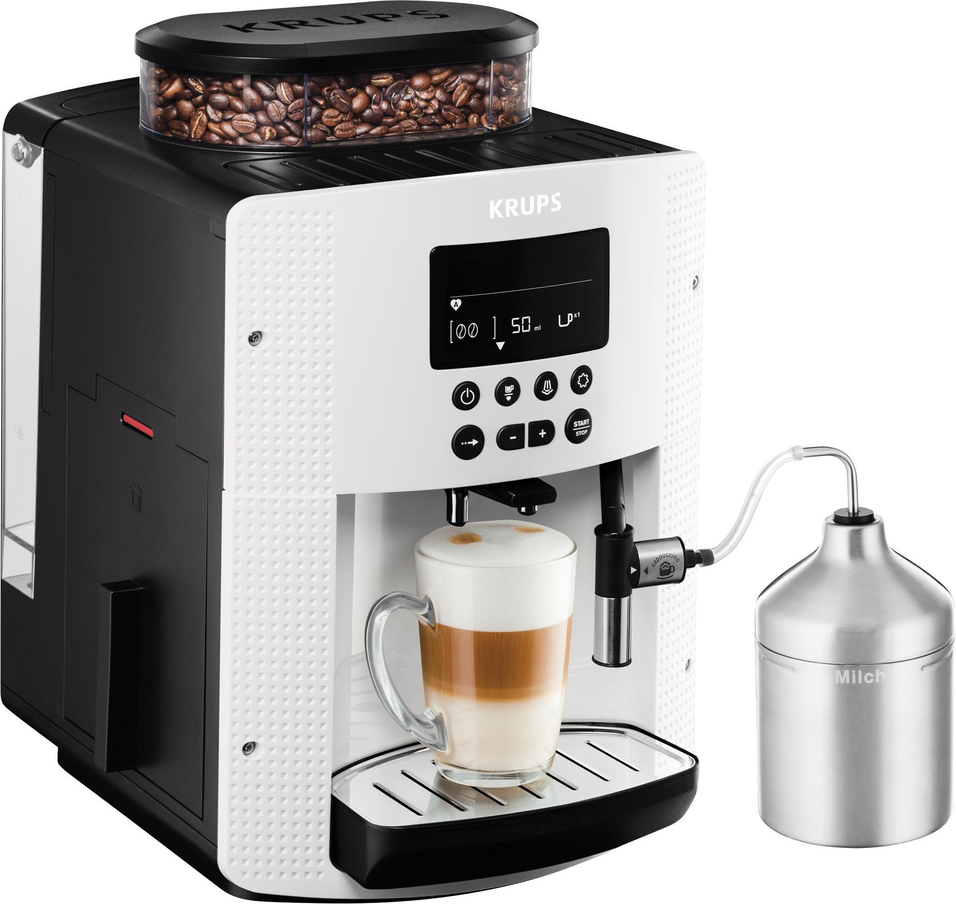 Krups Kaffeevollautomat EA8161, 1, 8l Tank, Kegelmahlwerk   Küche und Esszimmer > Kaffee und Tee > Kaffeevollautomaten   Weiß   Krups