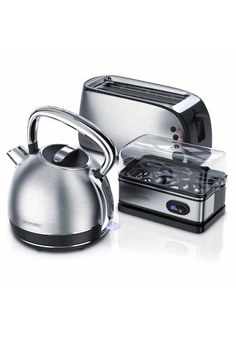 Arendo Frühstücks Set 3 - teilig in Edelstahl Design »Toaster / Wasserkocher / Eierkocher« kaufen