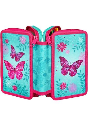 Scooli Schreibgeräteetui »Triple Decker, Butterfly«, befüllt, inkl. Geodreieck kaufen