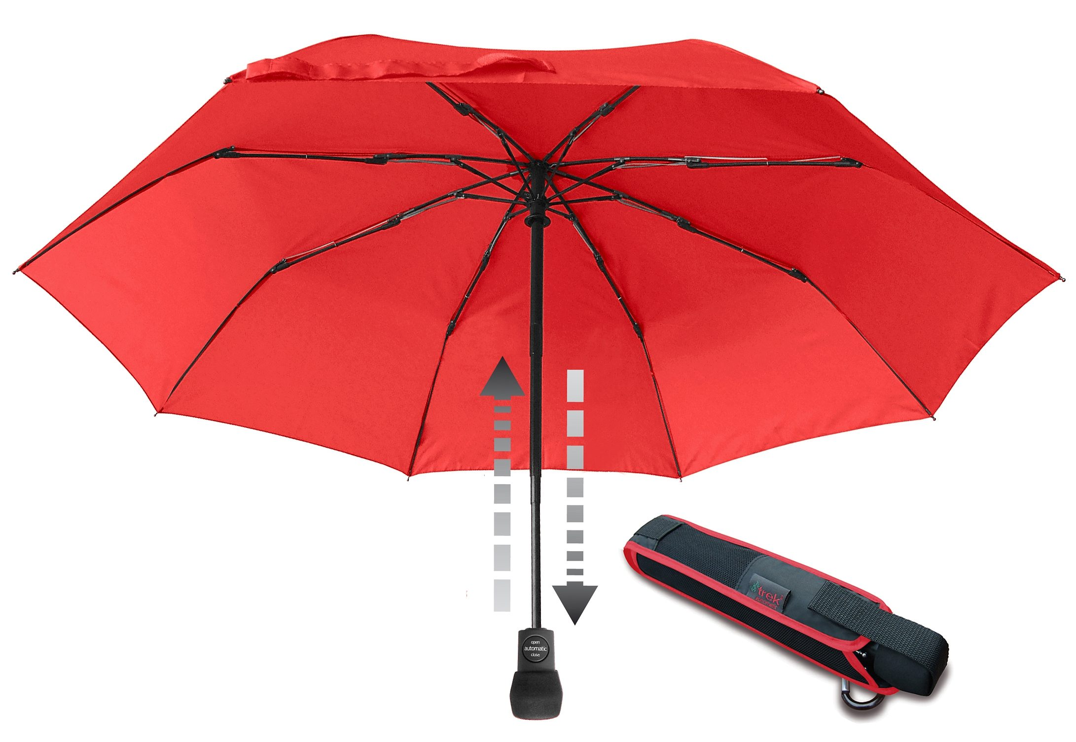 Euroschirm, Taschenregenschirm ´´light trek automatic Taschenschirm´´ | Accessoires > Regenschirme > Taschenschirme | Rot | Metall - Glasfaser - Polyester - Nylon | EUROSCHIRM®