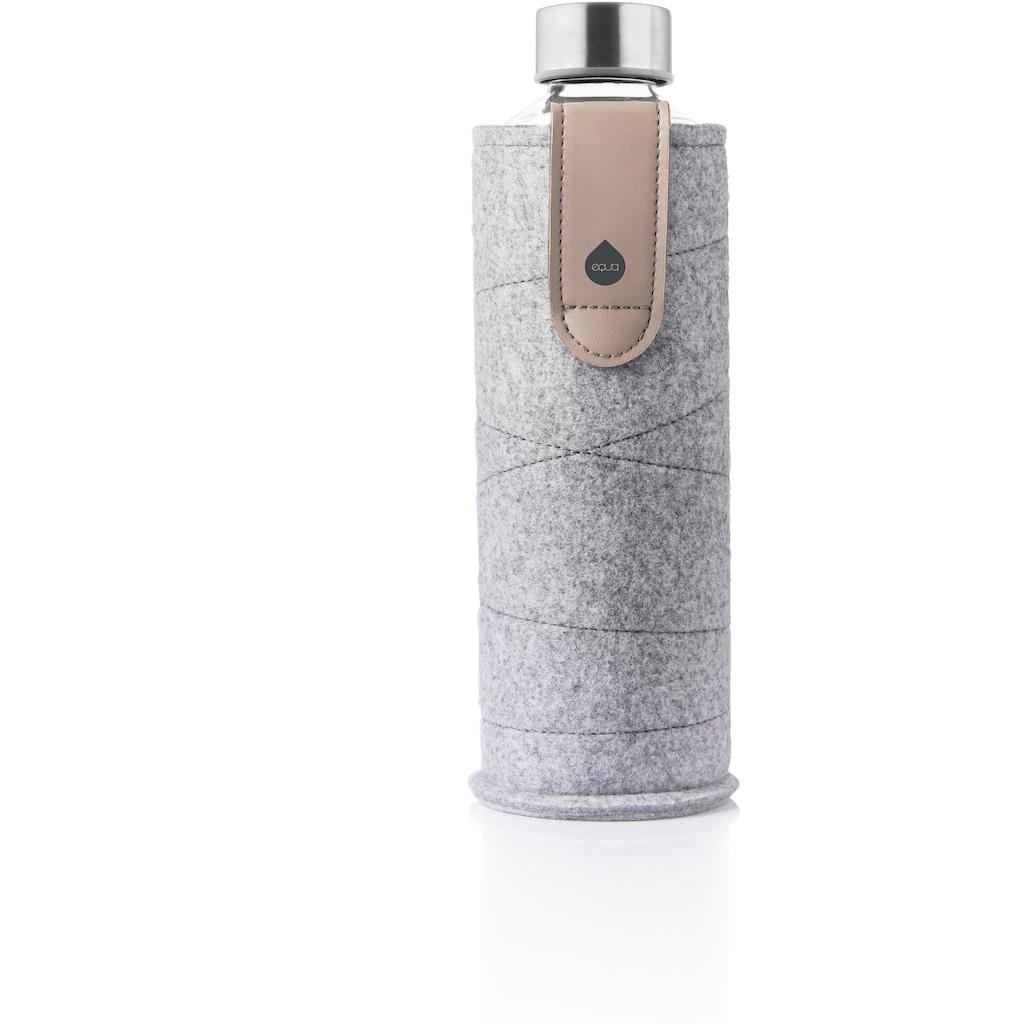 equa Trinkflasche »Mismatch«, Borosilikatglas, mit Filzhülle und Lederschlaufe zum Tragen